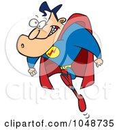 Royalty Free RF Clip Art Illustration Of A Cartoon Running Super Guy
