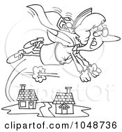 Royalty Free RF Clip Art Illustration Of A Cartoon Black And White Outline Design Of A Super Nurse Flying by toonaday