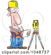 Royalty Free RF Clip Art Illustration Of A Cartoon Construction Surveyor by toonaday