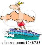 Royalty Free RF Clip Art Illustration Of A Cartoon Buff Surfer Riding A Wave by toonaday