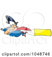 Royalty Free RF Clip Art Illustration Of A Cartoon Super Hero Flying A Sign Banner