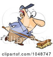 Royalty Free RF Clip Art Illustration Of A Cartoon Man Using A Push Broom