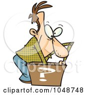 Royalty Free RF Clip Art Illustration Of A Cartoon Man Reaching In A Surprise Box by toonaday