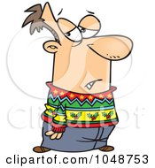 Royalty Free RF Clip Art Illustration Of A Cartoon Man Wearing A Festive Sweater