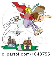 Royalty Free RF Clip Art Illustration Of A Cartoon Super Nurse Flying by toonaday