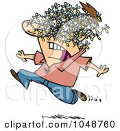 Royalty Free RF Clip Art Illustration Of A Cartoon Man Being Attacked By A Swarm Of Bees by toonaday