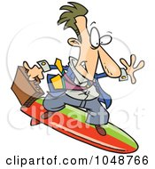 Royalty Free RF Clip Art Illustration Of A Cartoon Surfing Businessman by toonaday