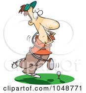Royalty Free RF Clip Art Illustration Of A Cartoon Swinging Golfer Getting Tangled In A Club by toonaday