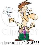 Royalty Free RF Clip Art Illustration Of A Cartoon Surrendering Businessman by toonaday