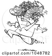 Royalty Free RF Clip Art Illustration Of A Cartoon Black And White Outline Design Of A Man Being Attacked By A Swarm Of Bees by toonaday
