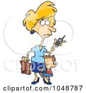 Royalty Free RF Clip Art Illustration Of A Cartoon Boy Hugging His Super Mom