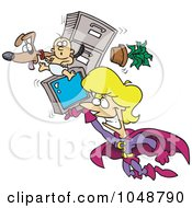 Royalty Free RF Clip Art Illustration Of A Cartoon Super Woman Flying