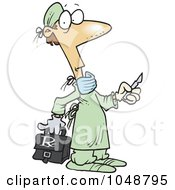 Royalty Free RF Clip Art Illustration Of A Cartoon Surgeon Holding A Scalpel by toonaday