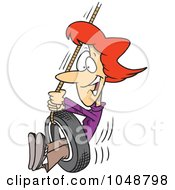 Royalty Free RF Clip Art Illustration Of A Cartoon Woman Playing On A Tire Swing by toonaday