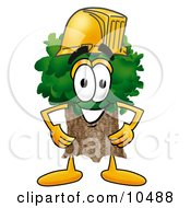 Clipart Picture Of A Tree Mascot Cartoon Character Wearing A Helmet by Toons4Biz