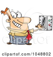 Royalty Free RF Clip Art Illustration Of A Cartoon Businessman Flipping A Switch by toonaday