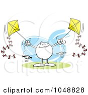 Royalty Free RF Clip Art Illustration Of A Multi Tasking Moodie Character Flying Two Kites