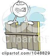Royalty Free RF Clip Art Illustration Of A Confident Moodie Character On A Fence