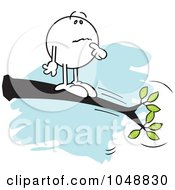 Royalty Free RF Clip Art Illustration Of A Confused Moodie Character Out On A Limb