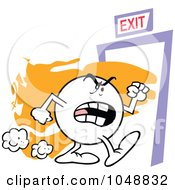 Royalty Free RF Clip Art Illustration Of A Moodie Character Making A Ferocious Exit