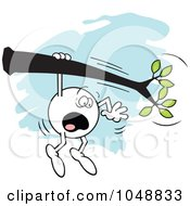 Royalty Free RF Clip Art Illustration Of A Horrified Moodie Character Hanging On A Limb
