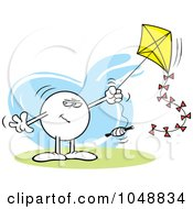 Royalty Free RF Clip Art Illustration Of A Sinister Moodie Character Flying A Kite