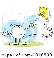 Royalty Free RF Clip Art Illustration Of A Puzzled Moodie Character Flying A Kite