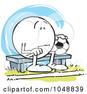 Royalty Free RF Clip Art Illustration Of An Moodie Character Soccer Bench Warmer Sulking