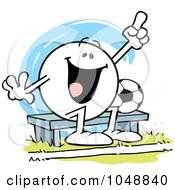 Royalty Free RF Clip Art Illustration Of An Moodie Character Soccer Bench Woarmer Cheering by Johnny Sajem