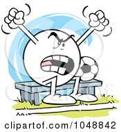 Royalty Free RF Clip Art Illustration Of An Moodie Character Soccer Bench Woarmer Complaining