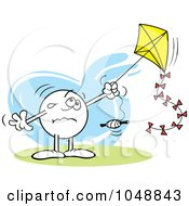 Royalty Free RF Clip Art Illustration Of A Sad Moodie Character Flying A Kite