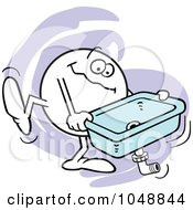Royalty Free RF Clip Art Illustration Of A Happy Moodie Character Carrying A Kitchen Sink