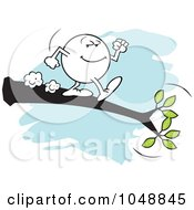 Royalty Free RF Clip Art Illustration Of A Willing Moodie Character Out On A Limb