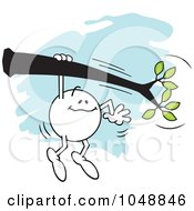 Royalty Free RF Clip Art Illustration Of A Moodie Character Hanging On A Limb