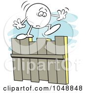 Royalty Free RF Clip Art Illustration Of A Fearful Moodie Character On A Fence
