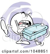 Royalty Free RF Clip Art Illustration Of An Angry Moodie Character Carrying A Kitchen Sink