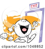 Royalty Free RF Clip Art Illustration Of A Moodie Character Making A Happy Exit