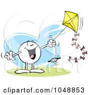 Royalty Free RF Clip Art Illustration Of A Happy Moodie Character Flying A Kite