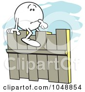 Royalty Free RF Clip Art Illustration Of A Moodie Character Straddling A Fence
