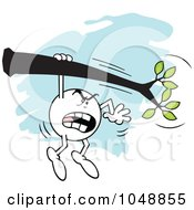 Royalty Free RF Clip Art Illustration Of An Angry Moodie Character Hanging On A Limb