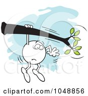 Royalty Free RF Clip Art Illustration Of A Fearful Moodie Character Hanging On A Limb