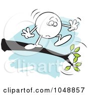 Royalty Free RF Clip Art Illustration Of A Fearful Moodie Character Out On A Limb