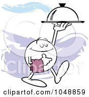 Royalty Free RF Clip Art Illustration Of A Moodie Character Waiter Serving Dinner