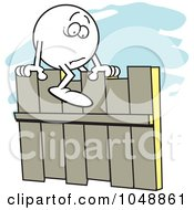 Royalty Free RF Clip Art Illustration Of A Fearful Moodie Character Straddling A Fence