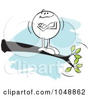 Royalty Free RF Clip Art Illustration Of A Confident Moodie Character Out On A Limb