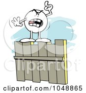 Royalty Free RF Clip Art Illustration Of A Mad Moodie Character On A Fence