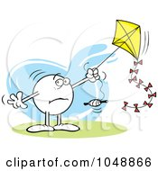 Royalty Free RF Clip Art Illustration Of A Distraught Moodie Character Flying A Kite