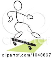 Royalty Free RF Clip Art Illustration Of A Stickler Skateboarding And Jumping Over Green 2 by Johnny Sajem
