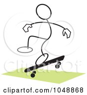 Royalty Free RF Clip Art Illustration Of A Stickler Skateboarding And Jumping Over Green 1 by Johnny Sajem