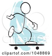 Royalty Free RF Clip Art Illustration Of A Stickler Skateboarding Over Blue by Johnny Sajem